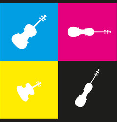 Violine sign white icon with vector