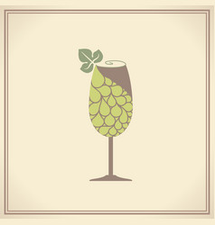 wine glass with grape vector image vector image