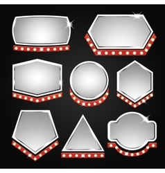 Silver banners frame with lights vector