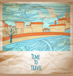 Time to travel abstract drawing card vector
