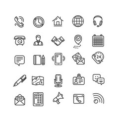 contact us icon black thin line set vector image