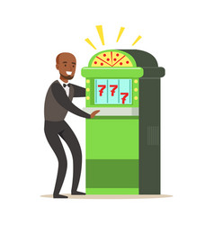 Happy man is playing slot machine jackpot vector