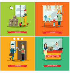 Set of delivery posters in flat style vector