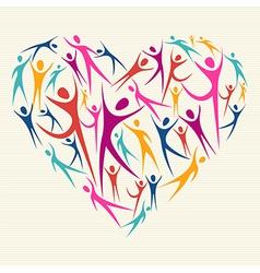 Embrace diversity concept heart vector