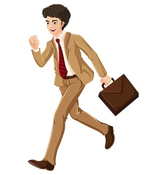 A businessman walking hurriedly with an attache vector