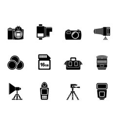 Silhouette photography equipment and tools icons vector