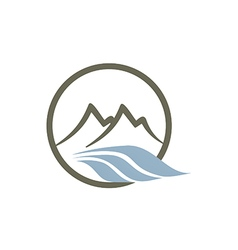 Mountain river abstract line logo vector
