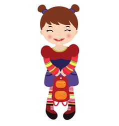 little girl holding a backpack vector image
