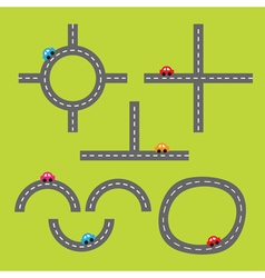 Road white marking and cartoon cars crossroad vector