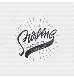 Surfing badges sign handmade differences made vector