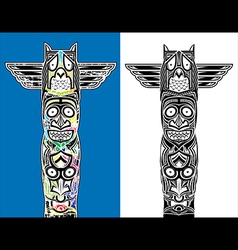 Indian totem carved owl and scary faces vector