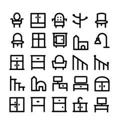 Buildings and furniture icons 15 vector
