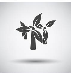 Wind mill with leaves in blades icon vector