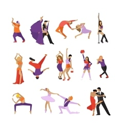Set of dancing people dance design vector