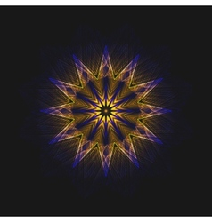Abstract flame star on black background vector