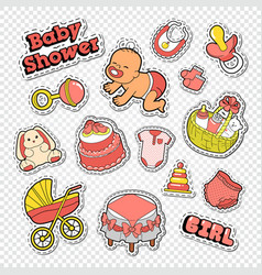 Baby shower doodle with girl toys vector