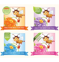 Banners with bee and honey vector