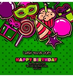 Birthday card with items balloon cake hat star vector
