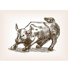Bull statue hand drawn sketch style vector