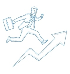 Businessman running on growth graph vector