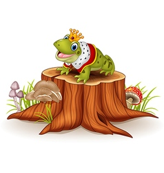 Cartoon funny frog king sitting on tree stump vector image vector image