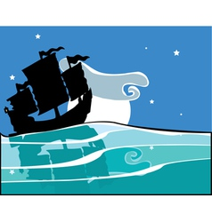 Chinese Junk at night vector image