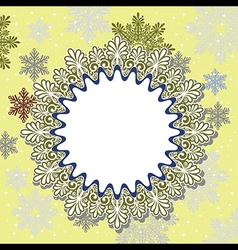 Christmas frame on snow background vector image