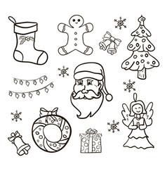 christmas set hand drawn vector image