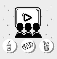 Cinema with popcorn soda movie and tickets vector
