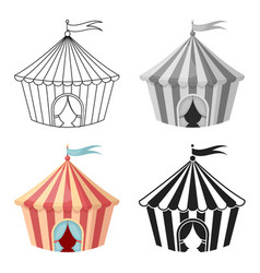 Circus tent icon in cartoon style isolated on vector
