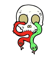Comic cartoon skull with snakes vector