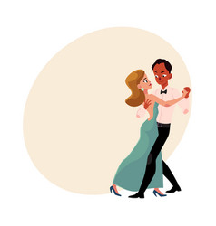 Couple of professional ballroom dancers caucasian vector