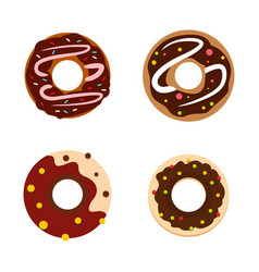 donut icon set flat style vector image