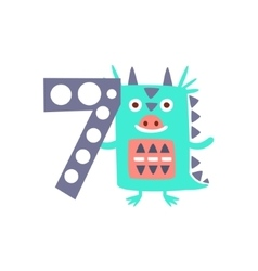 Dragon standing next to number seven stylized vector