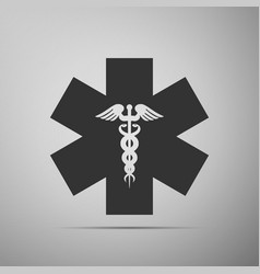 Emergency star - medical symbol caduceus snake vector