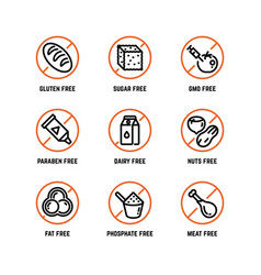 Food ingredient warning icons phosphate vector