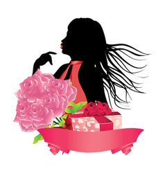 Girl with gift box and roses2 vector image vector image