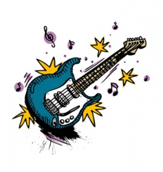 guitar drawing vector image vector image