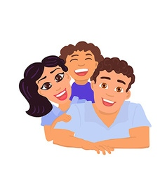 Happy family father mom and daughter vector image