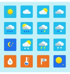 Icon set of weather icons with snow rain sun and vector image