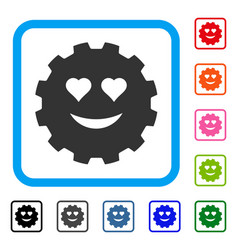 Love smiley gear framed icon vector