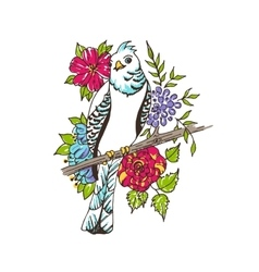 parrot on the floral background vector image vector image