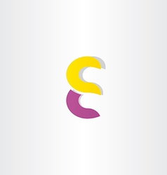purple yellow letter e logotype logo symbol vector image vector image
