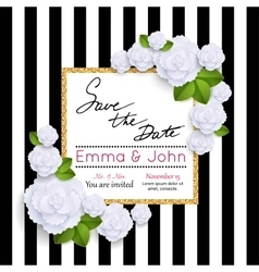 Save the date cards with paper flowers and gold vector image vector image