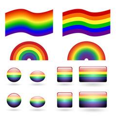 set of gay pride symbols vector image vector image