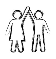 sketch pictogram of couple taken of hands up vector image