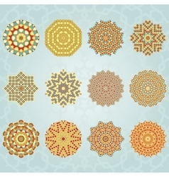 Snowflake geometric vintage colors set vector