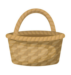 Straw basket for carrying fruits and vegetables in vector