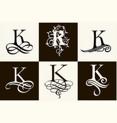 Vintage set capital letter k for monograms and vector