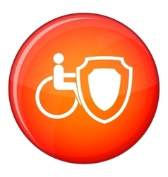 Wheelchair and safety shield icon flat style vector